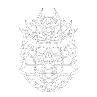 Ilustração desenhada à mão do crânio de samurai ronin Vetor Premium