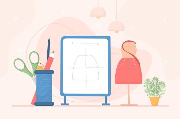 Ilustração desenhada à mão do designer de moda no local de trabalho