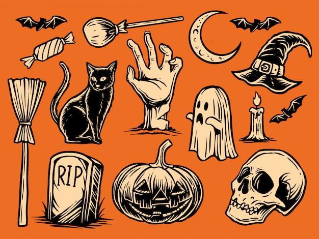 Ilustração desenhada à mão do dia das bruxas