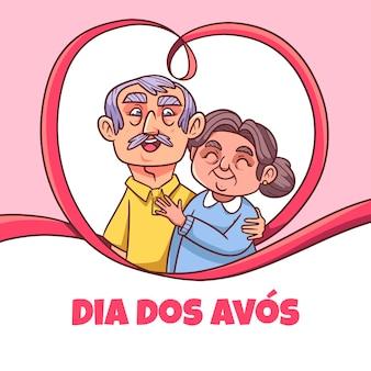 Ilustração desenhada à mão do dia dos avos Vetor Premium