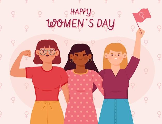 Ilustração desenhada à mão do dia internacional da mulher com mulheres levantando o punho e a bandeira