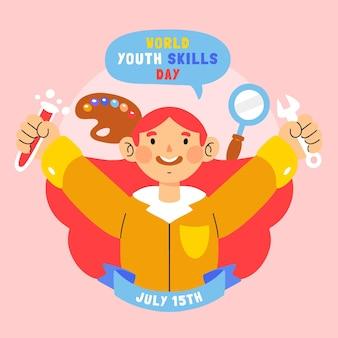 Ilustração desenhada à mão do dia mundial de habilidades da juventude