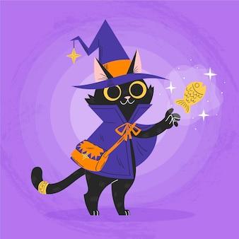 Ilustração desenhada à mão do gato do dia das bruxas