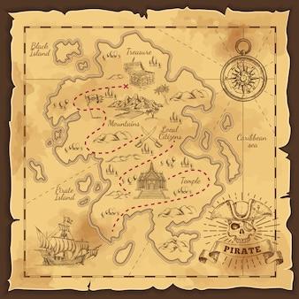 Ilustração desenhada à mão do mapa do tesouro do pirata