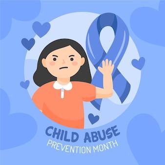 Ilustração desenhada à mão do mês nacional de prevenção do abuso infantil
