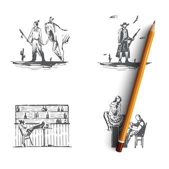 Ilustração desenhada à mão do oeste selvagem