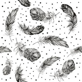 Ilustração desenhada à mão do padrão de penas