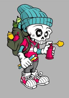 Ilustração desenhada à mão do skull bomber