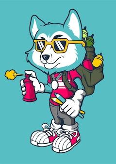 Ilustração desenhada à mão do wolf bomber