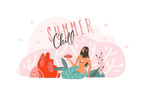 Ilustração desenhada à mão dos desenhos animados com recifes de coral, peixes e garota sereia da beleza com tipografia summer chill