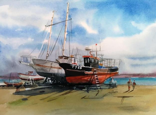 Ilustração desenhada à mão em aquarela de navio