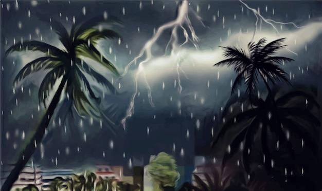 Ilustração desenhada à mão em aquarela escura noite chuvosa