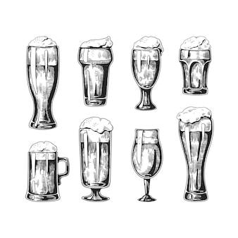 Ilustração desenhada à mão em copos de cerveja