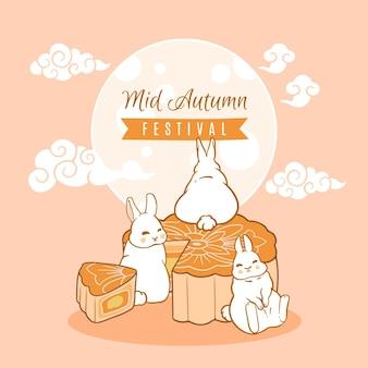 Ilustração desenhada à mão festival do meio do outono