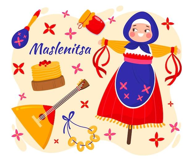 Ilustração desenhada à mão maslenitsa