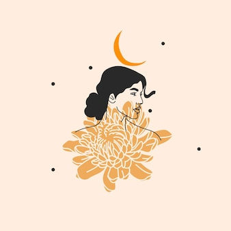 Ilustração desenhada à mão, mulher boho com flores e arte de linha sagrada da lua