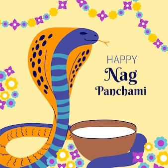 Ilustração desenhada à mão nag panchami