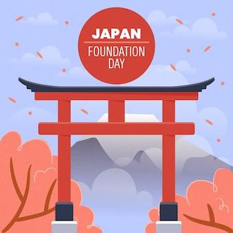 Ilustração desenhada à mão no dia da fundação no japão