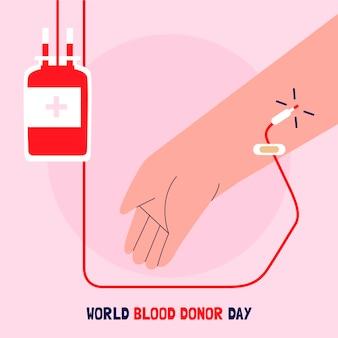 Ilustração desenhada à mão no dia mundial do doador de sangue
