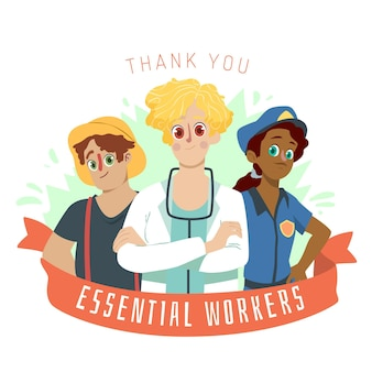 Ilustração desenhada à mão, obrigado trabalhadores essenciais