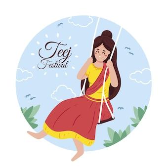 Ilustração desenhada à mão para a celebração do festival teej
