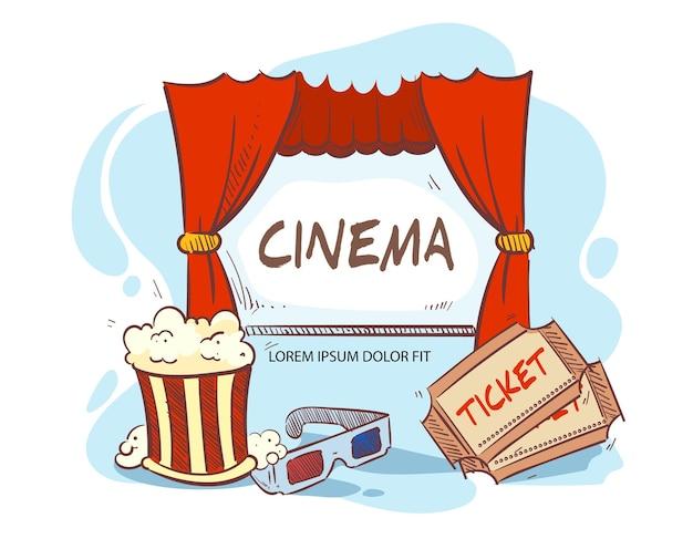 Ilustração desenhada à mão para a hora do filme