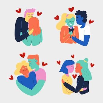 Ilustração desenhada à mão para casais se beijando