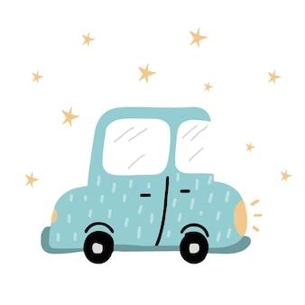 Ilustração desenhada à mão para crianças de um carro azul. o carro está brilhando com faróis