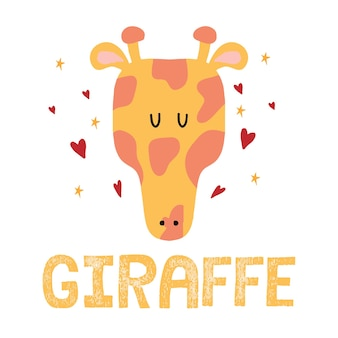 Ilustração desenhada à mão para crianças de uma cabeça de girafa girafa bonita com corações e estrelas
