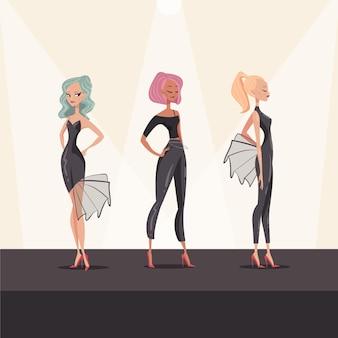 Ilustração desenhada à mão para desfile de moda