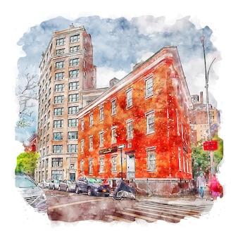 Ilustração desenhada à mão para esboço em aquarela da cidade de nova york