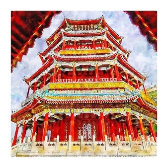 Ilustração desenhada à mão para esboço em aquarela de pequim china