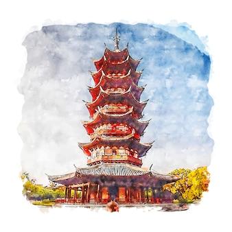 Ilustração desenhada à mão para esboço em aquarela de suzhou china