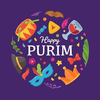 Ilustração desenhada à mão para feliz dia do purim