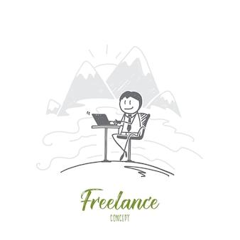 Ilustração desenhada à mão para freelance