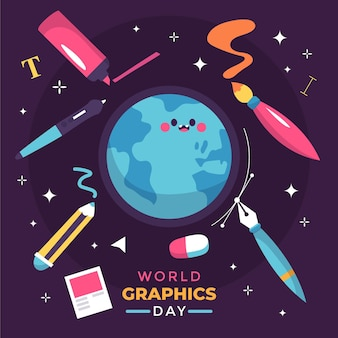 Ilustração desenhada à mão para gráficos do mundo