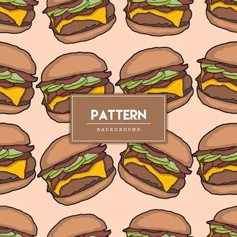 Ilustração desenhada à mão para hambúrguer de comida padrão sem emenda