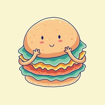 Ilustração desenhada à mão para hambúrguer fofo