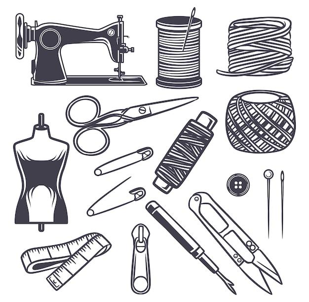 Ilustração desenhada à mão para ícone de costura de taylor