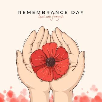 Ilustração desenhada à mão para o dia da lembrança