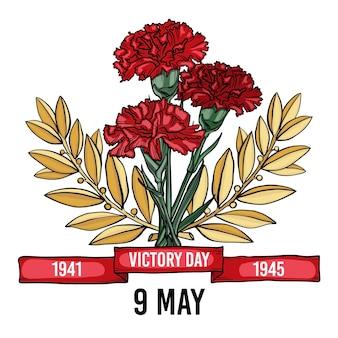 Ilustração desenhada à mão para o dia da vitória russa