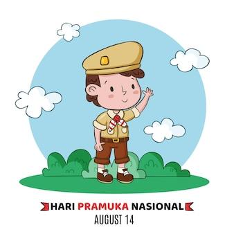 Ilustração desenhada à mão para o dia de pramuka