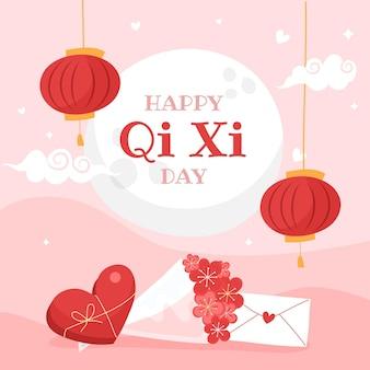 Ilustração desenhada à mão para o dia de qi xi