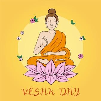 Ilustração desenhada à mão para o dia de vesak
