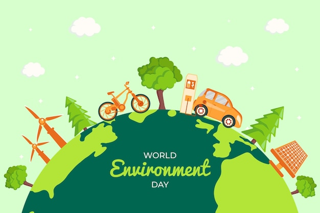 Ilustração desenhada à mão para o dia do meio ambiente Vetor grátis