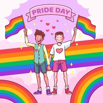 Ilustração desenhada à mão para o dia do orgulho