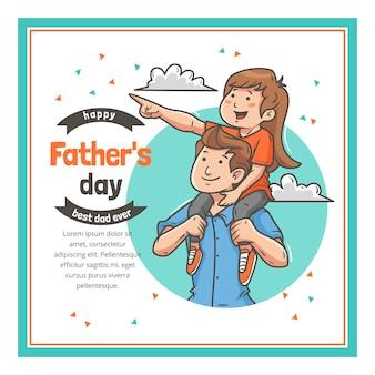 Ilustração desenhada à mão para o dia dos pais
