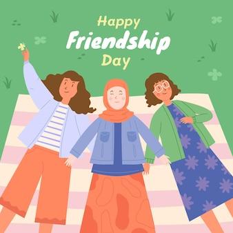 Ilustração desenhada à mão para o dia internacional da amizade