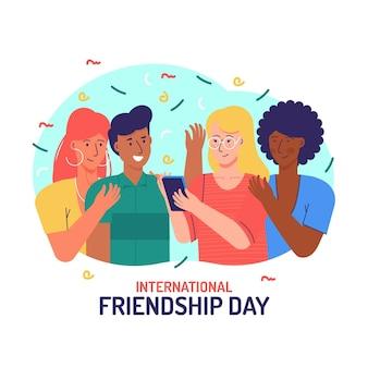 Ilustração desenhada à mão para o dia internacional da amizade Vetor Premium
