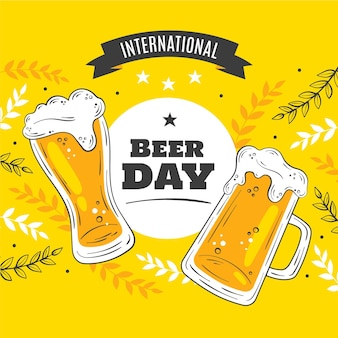 Ilustração desenhada à mão para o dia internacional da cerveja